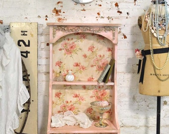 Painted Cottage Chic Shabby Pink Handmade Bookcase / Display Cabinet