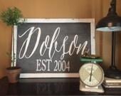 Extra-large custom family name framed wood sign