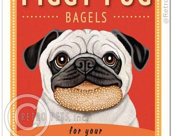 "8x10 Pug Art - Piggy Pug Bagels - ""For The Grunting Gourmand"" -  Art print by Krista Brooks"