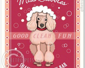 8x10 Pink Poodle Art - Miss Bubbles - Good Clean Fun - Art print by Krista Brooks