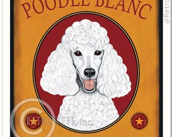 8x10 White Poodle Art - Poodle Blanc - The Standard of Excellence - Art print by Krista Brooks