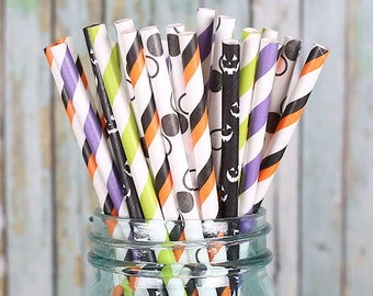 Halloween Paper Straws, Witches Brew Party Straws, Striped Straws, Polka Dot Straws, Jack-O-Lantern, Drinking Straws, Cake Pop Sticks (30ct)