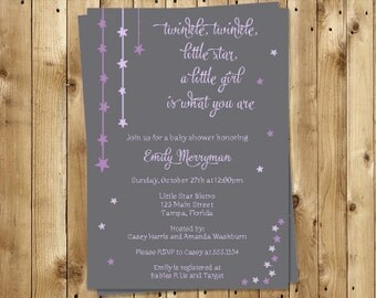 Twinkle Little Star Baby Shower Invitations, Girls, Set of 10 Printed Invites, Free Shipping, TWSPR, Twinkle Star Gray, Purple