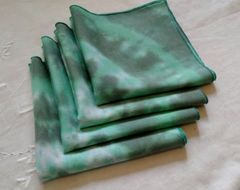 Newly Dyed Vintage Linen Handkerchiefs Set of 4