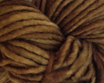Bulky /Chunky Weight Hand Painted Wool Yarn Pencil Roving in Bean Brown 60 yards