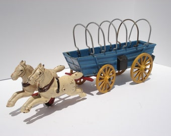 Antique Cast Iron Wagon Horse Team Covered Wagon