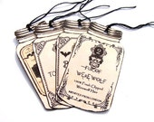 Potion Tags - Set Of 4 - Jar Shape Tags -  Halloween Potions - Witch Tags - Wizard Tags - Gothic Potion Tags - Vintage Halloween - Gift Tags