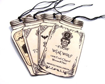 Potion Tags - Set Of 4 - Jar Shape Tags -  Halloween Potions - Witch Tags - Wizard Tags - Gothic Potion - Vintage Halloween - Large  Tags