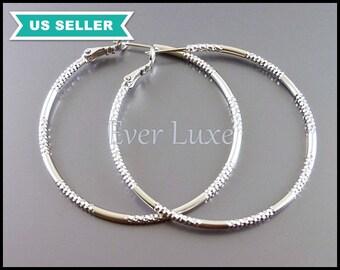2 large hoop earrings, matte silver 50mm textured hoop earrings, earring hoops 974-MR-50