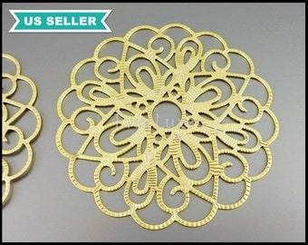 2 extra large beautiful flower detail filigree pendants, filigrees, scalloped round pendants in matte gold 1538-MG