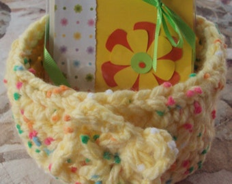 Yellow Polka Dotted Crocheted Basket