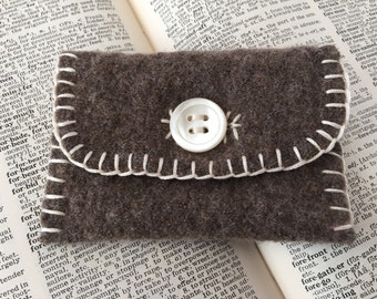 Upcycled felted wool wallet
