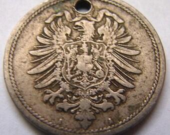 1875 ANTIQUE GERMAN CHARM 140 Years Old German Empire Wilhelm 1st 10 Pfennig Coin