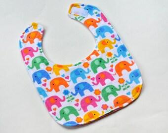Baby Girl Bib, Drool Bib Infant Bib, Baby Shower Gift Baby Bibs, Baby Girl Items, Cute Elephants, Soft Flannel Backing