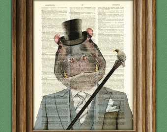 Happy Hippopotamus Hippo in a suit illustration beautifully upcycled dictionary page book art print