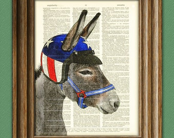 Eli the Wonder Donkey with American Flag Motorcycle Helmet illustration dictionary page book art print my