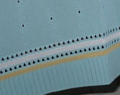 2 Yards ~ Vintage Mint Green Knit Pointelle Fabric with Ribbing Edge~ Soft Knit Fabric Yardage