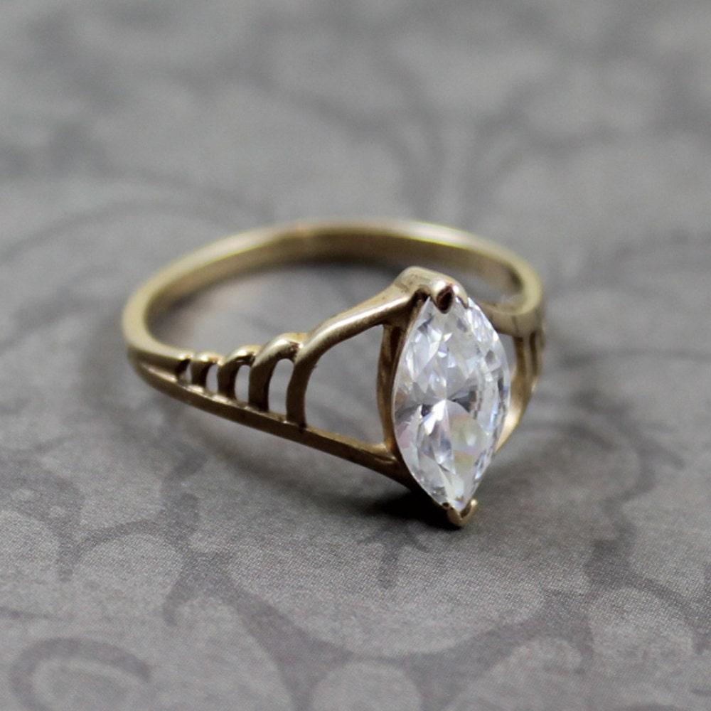 vintage 10k gold dq cz diamonique ring size 8 5