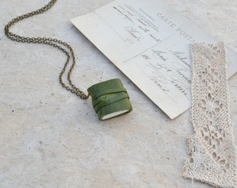 Little Green Leather Book Necklace