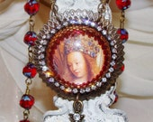 Mary's crown art print bead embroidery cabochon rosary prayer bead necklace Pamelia Designs