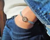 Evil eye bracelet, Tennis Bracelet , aqua blue gem stone bracelet , Protection Bracelet, Good Luck bracelet , Rhinestone Bracelet, eye