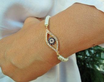 Turkish Eye Bracelet - Best Friend Jewelry - Gold Turkish Eye Bracelet - friendship jewelry - Rhinestone Bracelet - Turkish evil eye - yoga
