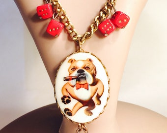 Retro Bull Dog Roll the Dice Vintage Necklace