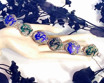 Beautiful Old Chinese Enamel Dragon Sterling Silver Vintage Antique Chinese Bracelet