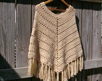 Boho Poncho, Crochet Poncho, Western Poncho in Wheat Ecru