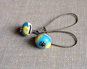 Brass earrings, lampwork beads