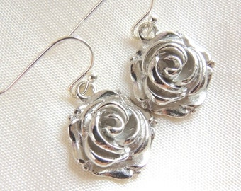 Silver Rose Earrings, Gift for Mom, Gift under 15, Bridal Earrings, Bridesmaids Earrings, Thank you gift, Mothers day gift, For grandma aunt