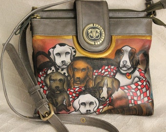 FREE SHIPPING Vintage Shariff 1827 Leather with Handpainted Dogs Crossbody Bag Purse