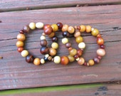SALE Multi color light and dark brown wood stretch beads set of 3 or individual