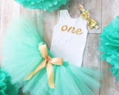 Mint and Gold Birthday Dress Tutu Outfit for Baby Girls Toddler Girls 1st Birthday Dress Cake Smash Tutus Cakesmash Birthday Outfit