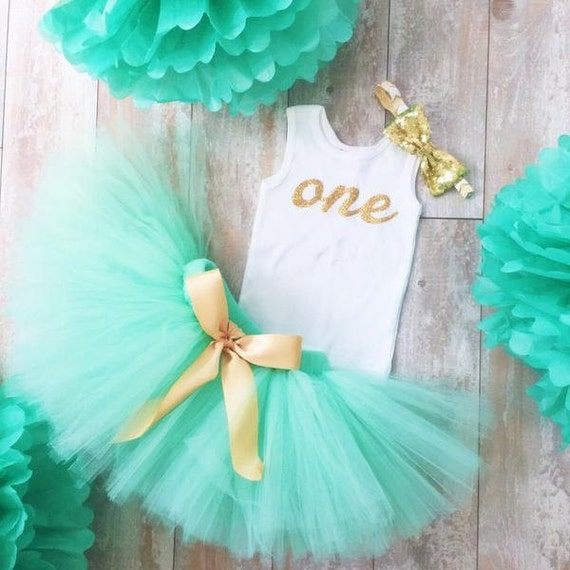Mint And Gold Birthday Dress Tutu Outfit For Baby Girls