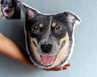 Custom Dog Portrait  Pillow - Australian Shepherd Dog , Personalized  gift for pet lovers, gift for dog lovers