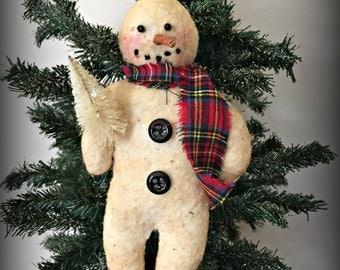 Primitive Snowman Ornament with Tree