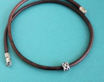Silver Bead Brown Leather Cord Necklace Mens