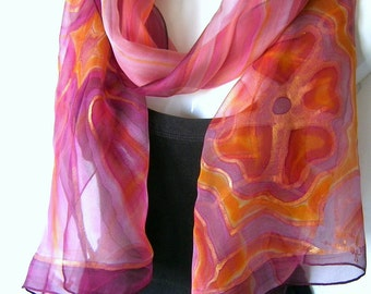 Hand Painted Silk Scarf, Burgundy Mauve Gold, Abstract Floral Silk Chiffon Scarf, Art Noeveau Inspired, Gift Under 50