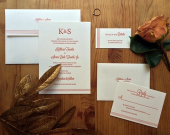 Custom Letterpress Wedding Suite - Lines design - 100 pieces
