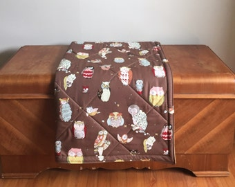 All Natural Cotton Baby Playmat. Double Padded Infant Floor Mat with Owl Print. Gender Neutral Play Mat
