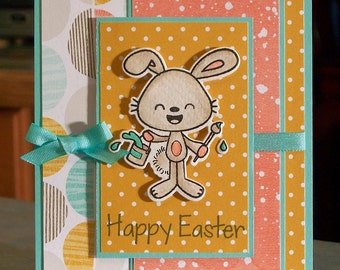 "Handmade Happy Easter Card - 4.25"" x 5.5"" - Cute Watercolored Die-Cut Bunny with Paint Can & Paintbrush"