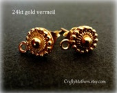 New Lower Price! Bali 24kt Gold Vermeil Granulated Earring Posts, 8mm x 11.5mm, 1 pair (2 pcs), Artisan-made supply
