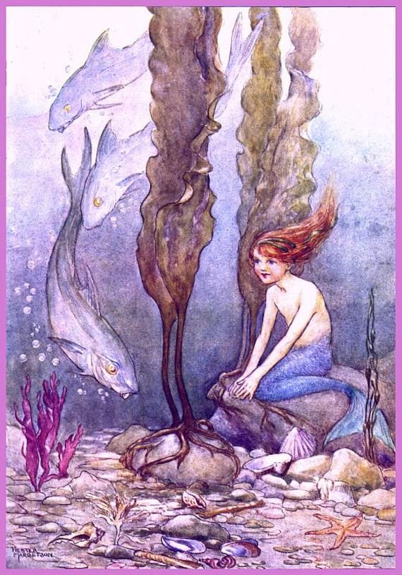 antique victorian mermaid illustration digital download