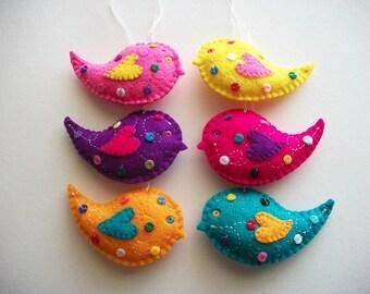 Felt Ornaments Multicolor Folk Art Bird Set with Polka Dots and Swirls Handsewn 6 Pieces