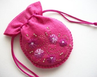 Pink Gift Bag Felt Compact Pouch with Hand Embroidered Flowers Swirls and Beads Handsewn