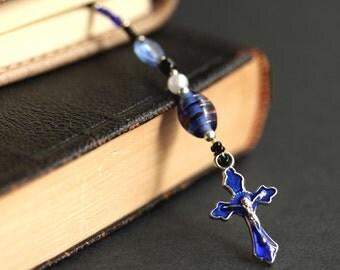 Cobalt Blue Bookmark. Beaded Bookmark. Christian Book Thong. Royal Blue Book Charm. Christian Bookmark. Beaded Book Marker.