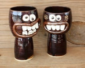 Wedding Toast Glasses. VALENTINES DAY His Hers Wine Glasses. Mr Mrs Pair Matching Goblets. Weddings Dark Chocolate Black. Fun Smiley Faces.