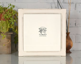 12x12 inch Square Picture Frame in Wide Bones Style with Vintage White Finish - Can Be Any Color - 12x12 Photo Frame - Large Square Frame