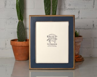 "8x10"" Picture Frame in 2-Tone Style with Vintage Navy Blue Finish - Can Be Any Color - 8x10 Photo Frame - Handmade 8x10 Wooden Frame"